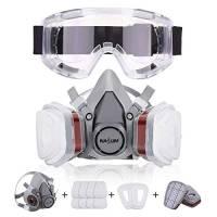 NASUM Maschera antipolvere con 2 filtri / 2 scatole / 8 cotoni/occhiali, contro polvere/particelle/vapore/gas, per artigiani/vernici ecc.