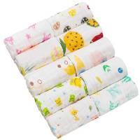 HBF Un Set da 10 Asciugamani Bambini Mussola in Cotone Morbido Asciugamani Bimbo 25x25 cm in Stile Cartone Animato Pulizia Viso Lavette Neonato