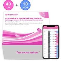 Femometer 40 x test di ovulazione + 10 test di gravidanza, Combinato con app (iOS & Android), Monitoraggio Attendibile del Ciclo e del Periodo Fertile