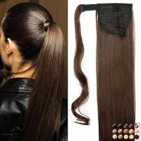 "23"" Coda di Cavallo Clip in Hair Extension Capelli Lisci Parrucchino Ponytail Wrap Around Estensioni 58cm-120g, 4# Marrone Cioccolato"